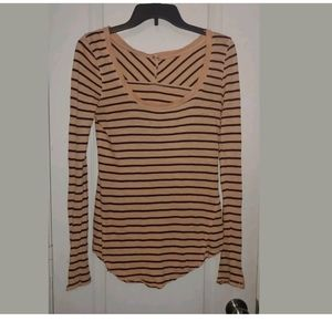 XS Free People Peach Striped Embellish Sleeve Top